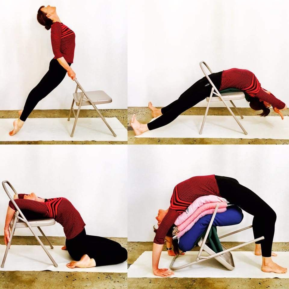 Backbends With Chair Prop Yoga Asanas Chair Yoga Yoga Backbend