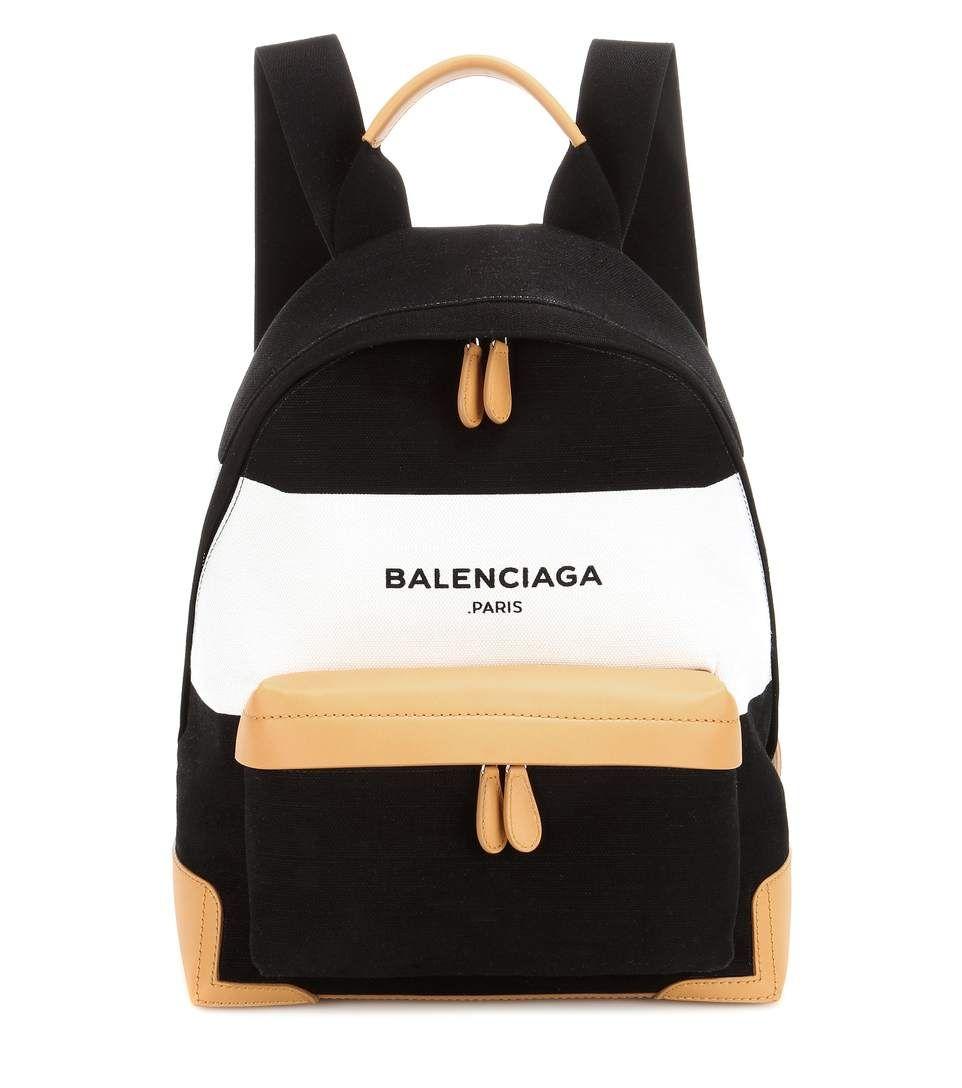 BALENCIAGA Navy Leather-Trimmed Canvas Backpack.  balenciaga  bags  leather   lining  canvas  backpacks 171e134f77e