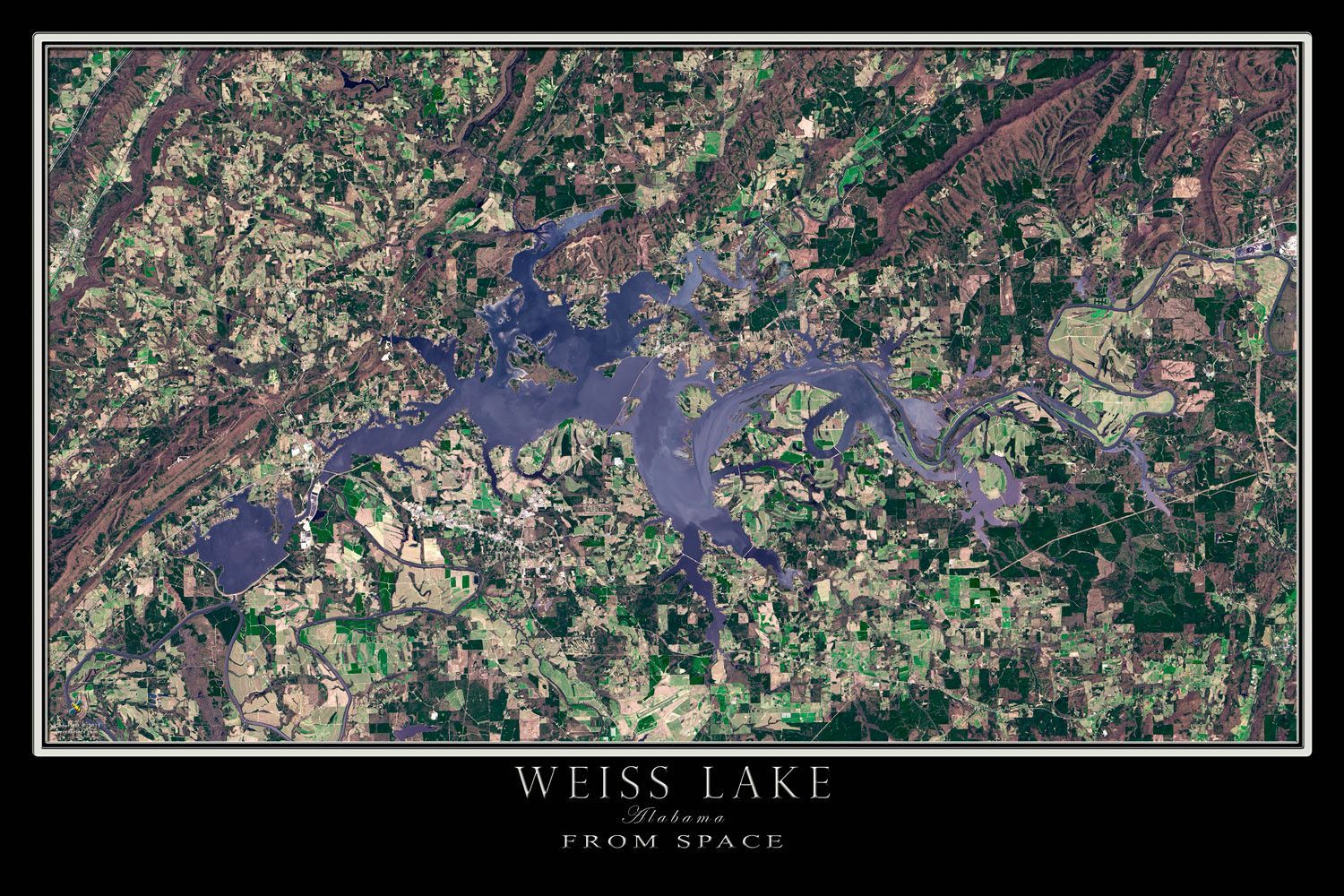 Lake Cumberland Kentucky Satellite Poster Map