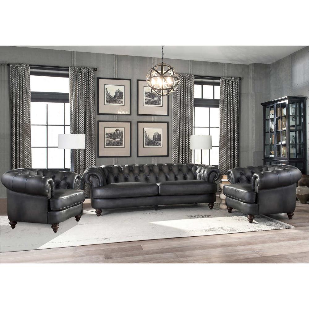 Glenbrook 3piece Leather Set Sofa, 2 Chairs Top grain