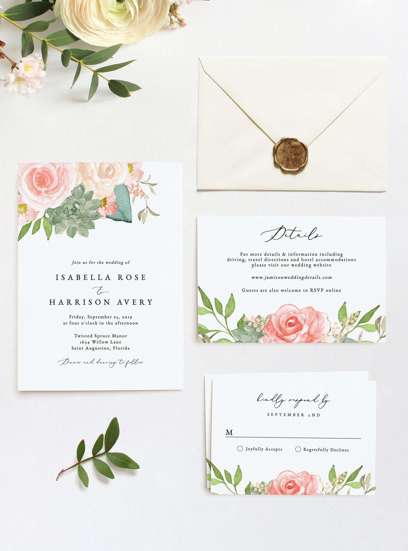 FINLEY Succulent Wedding Invitation Template Suite Blush | Etsy | Desert wedding  invitation, Diy printable wedding invitations, Wedding invitations  printable templates