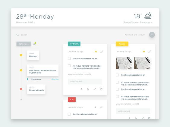 Task, Memo, Schedule, Weather \ etc mobile ui Pinterest - meeting memo