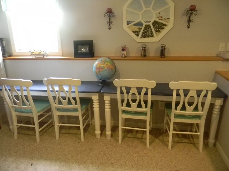 Nice Homeschool Table In Livingroom. Table Cut In Half! And Attached To The Wall!