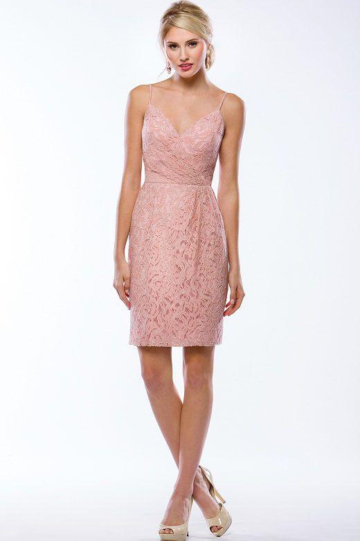 Spaghetti Strap V-neck Blush Lace Short Sheath Bridesmaid Dress ... 2a3483b9b08f