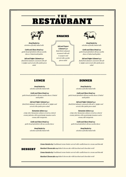 minimalist menu black white diy template menu maker diy menu