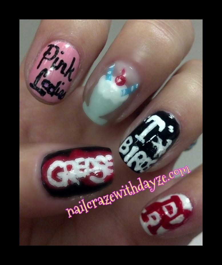 Trolls Movie Nail Art: Grease Nail Art. Manicure Inspired By A Movie For 31 Day