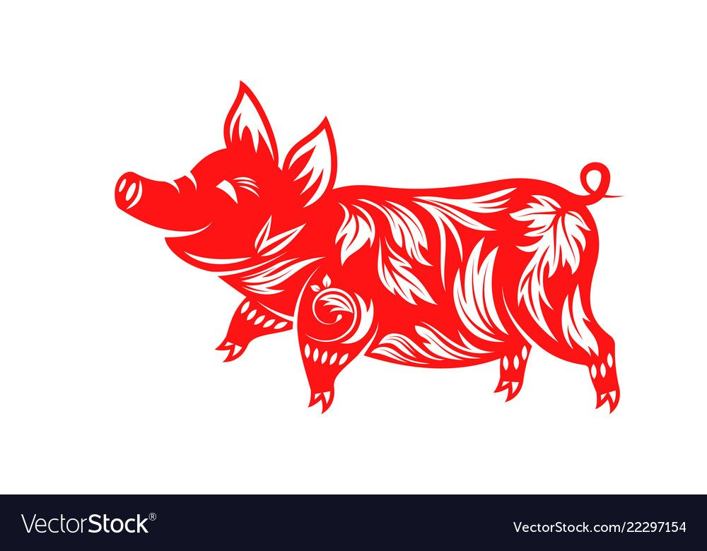 Chinese zodiac sign year of pig happy new year vector