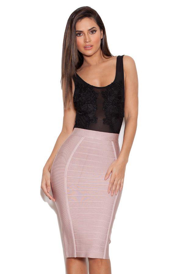 51af25e2c9d Sorcha Nude Knee Length Bandage Pencil Skirt | favs in 2019 | Skirts ...