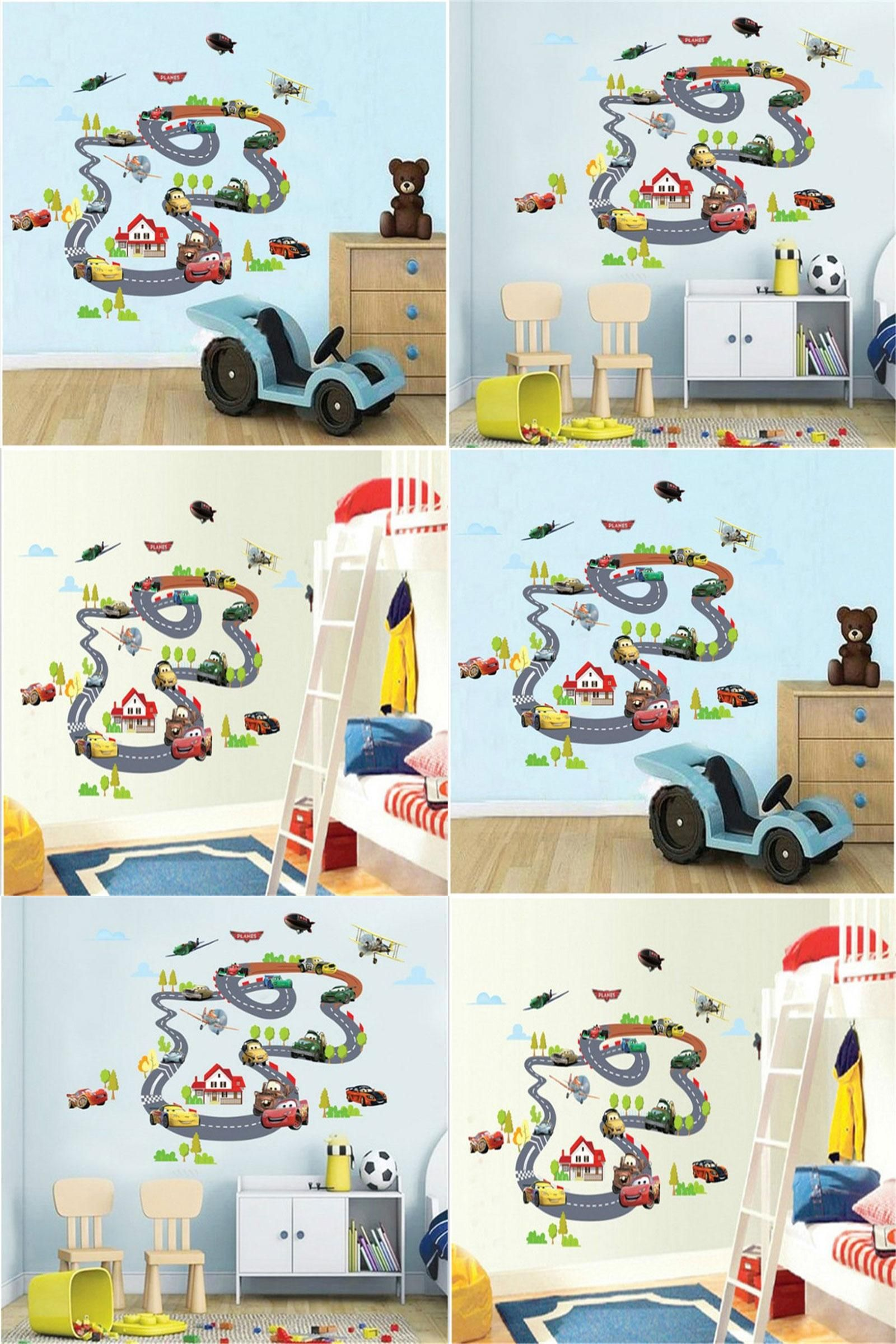 Visit to buy cartoon cars highway track wall stickers for kids