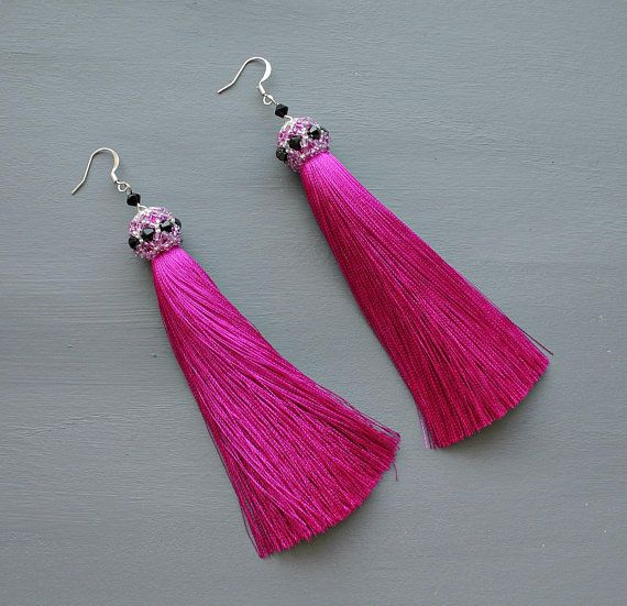 aa6964fc0 Earrings tassel silk dark pink Earrings fringe beaded Long tassel  bridesmaid earrings Summer bright