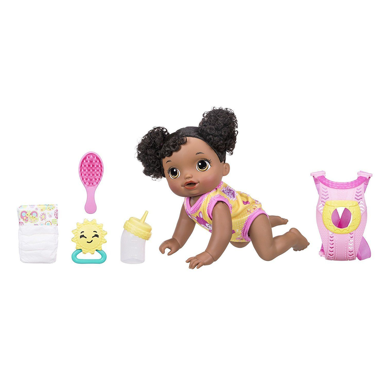 African American Baby Alive Interactive Crawling Talking And Drinking Baby Doll Go Bye Bye Baby Alive Interactive Baby Baby Alive Dolls