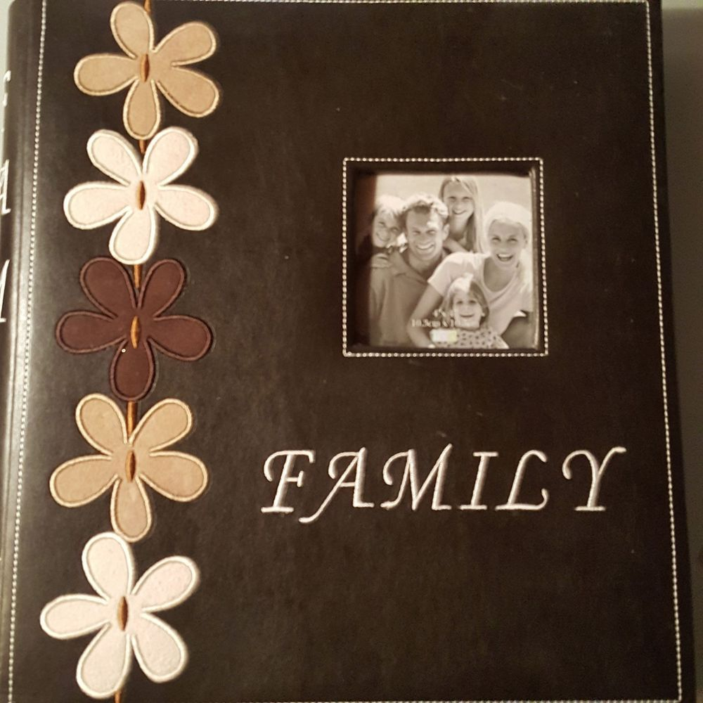 Myx Embroidered Family Photo Album Leatherette Chocolate Brown 4x6