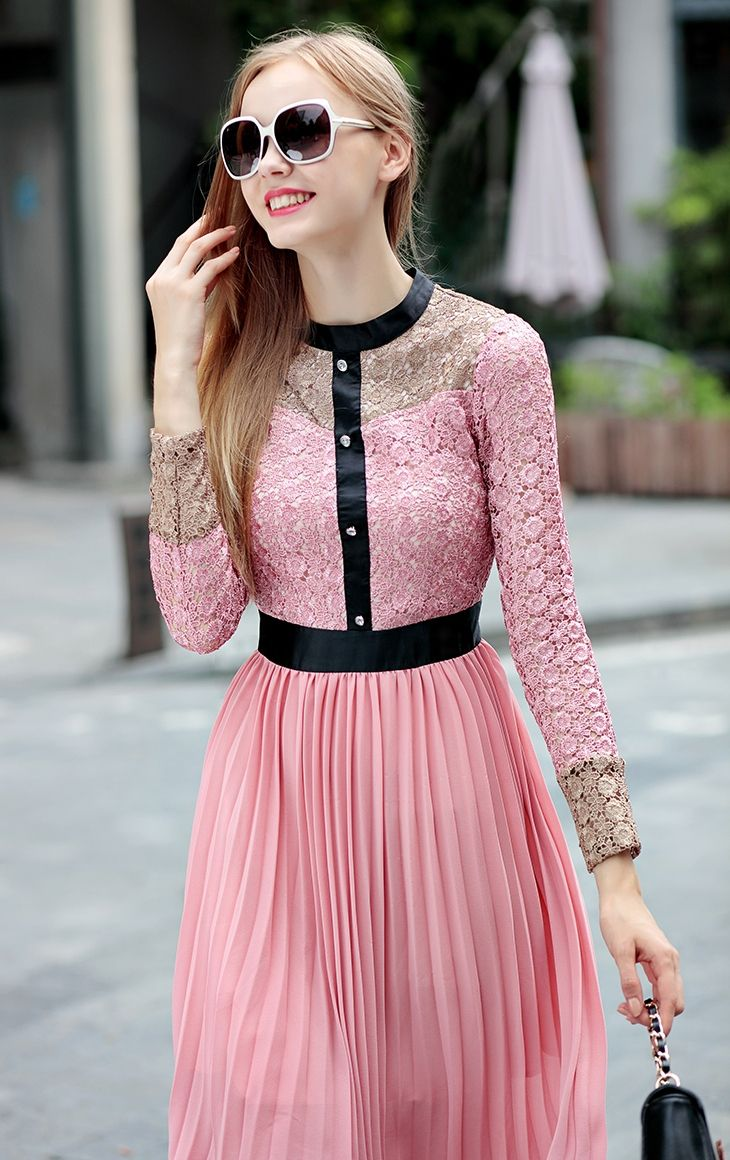 Morpheus Boutique  - Pink Chiffon Long Sleeve Lace Designer Dress, CA$105.75 (http://www.morpheusboutique.com/clothing/dresses/copy-of-black-pattern-3-4-sleeve-bow-designer-dress/)