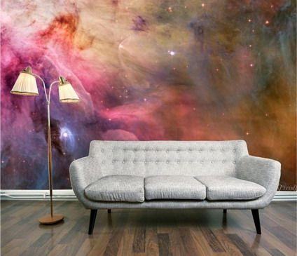 grey sofa and abstract colorful graffiti wall murals stickers in