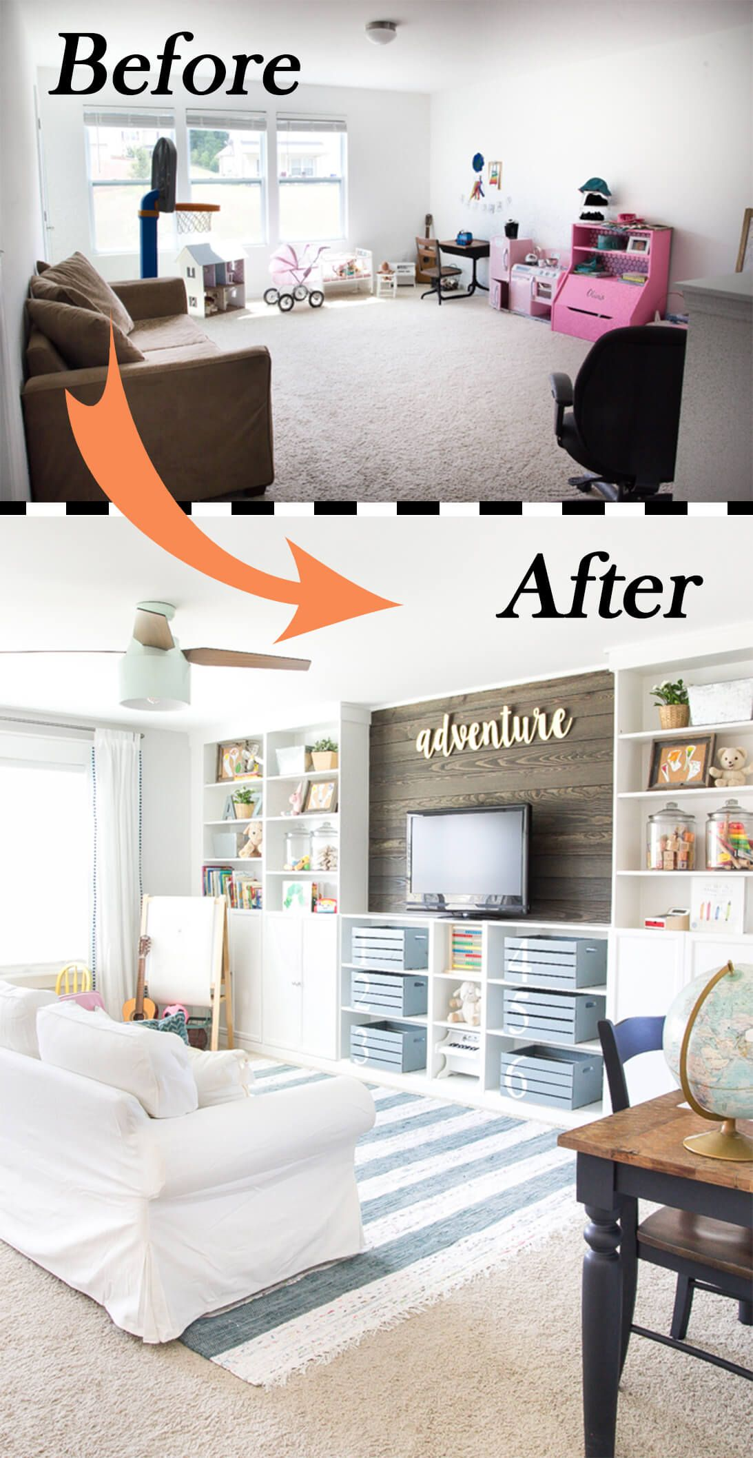Before and After: 26 Budget Friendly Living Room Makeovers to Inspire You |  Farmhouse playroom, Eclectic farmhouse, Home