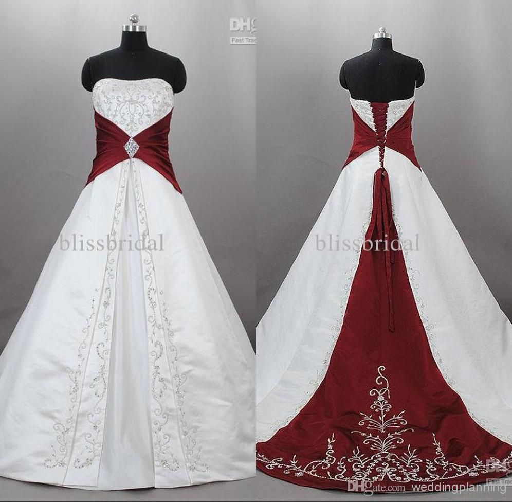 Cheap real picture2017 strapless satin embroidered a line wedding cheap real picture2017 strapless satin embroidered a line wedding dresses embroidery burgundy and white bead train plus size bridal wedding gowns as low as ombrellifo Gallery