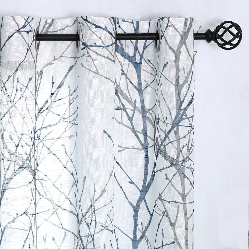 Blue White Curtains 84 For Living Room Grey Tree Branches Print Curtain Set Linen Textured Semi Sheer Win Blue And White Curtains White Curtains Tree Curtains