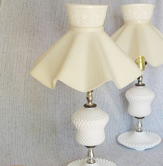Hobnail Lamp Pair 1940s 1950s White With Original Plastic Etsy Vintage Lamps Lamp Chic Spaces