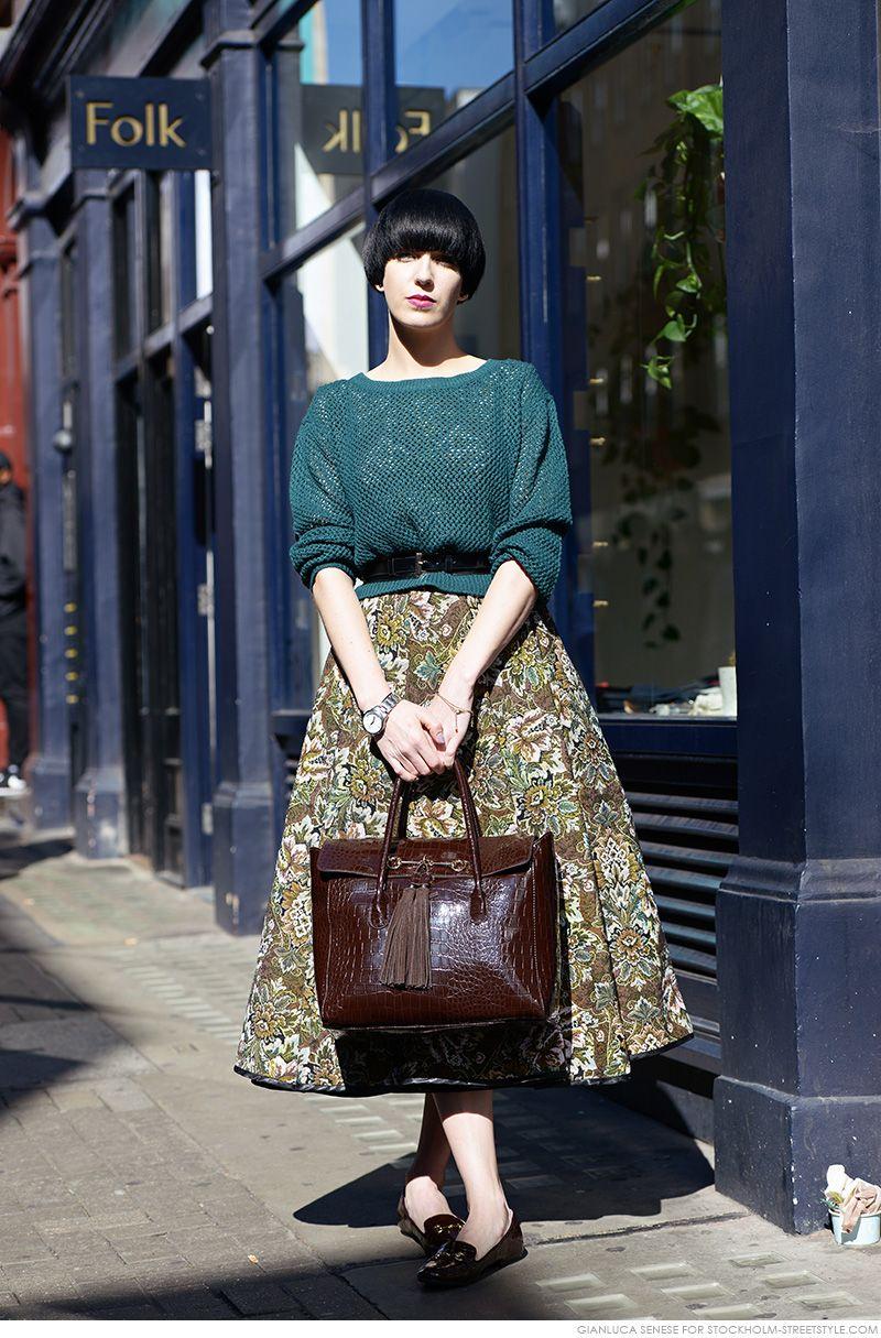 belted sweater & voluminous skirt + flats