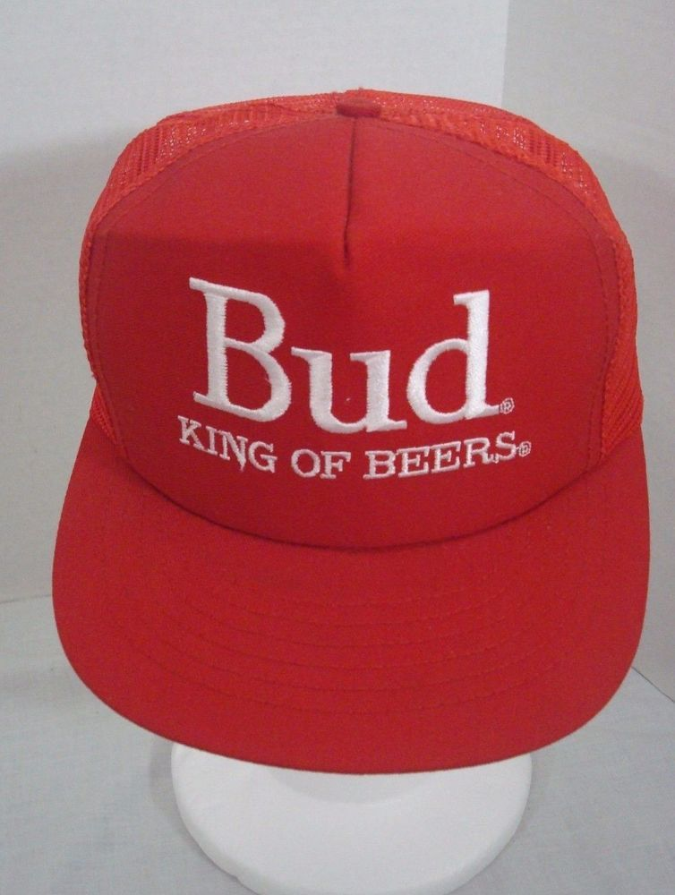 439b8fc562e9f Bud King Of Beers Hat Budweiser Red Snapback Trucker Hat Made in the USA   Stylemaster  TruckerHat