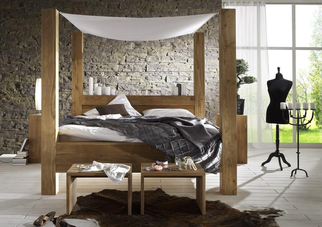 Himmelbett Massivholzbett Balder Wildeiche massiv geölt SIT - schlafzimmer auf rechnung