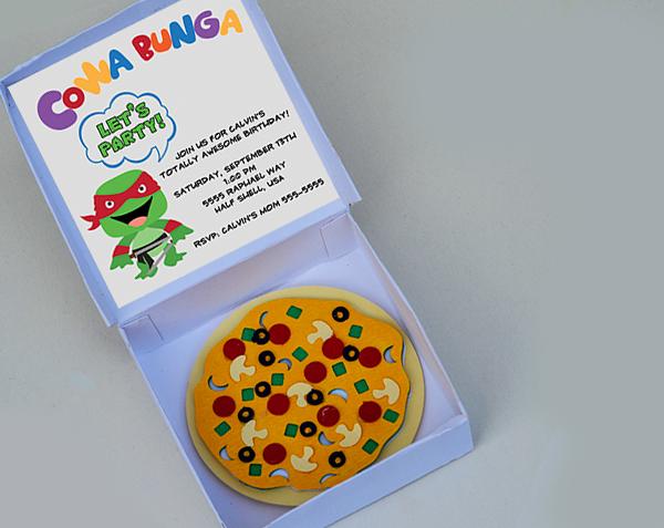 LD Solutions 3D Ninja Turtle Party Invitation with Pizza Box – Ninja Turtle Party Invitation Ideas