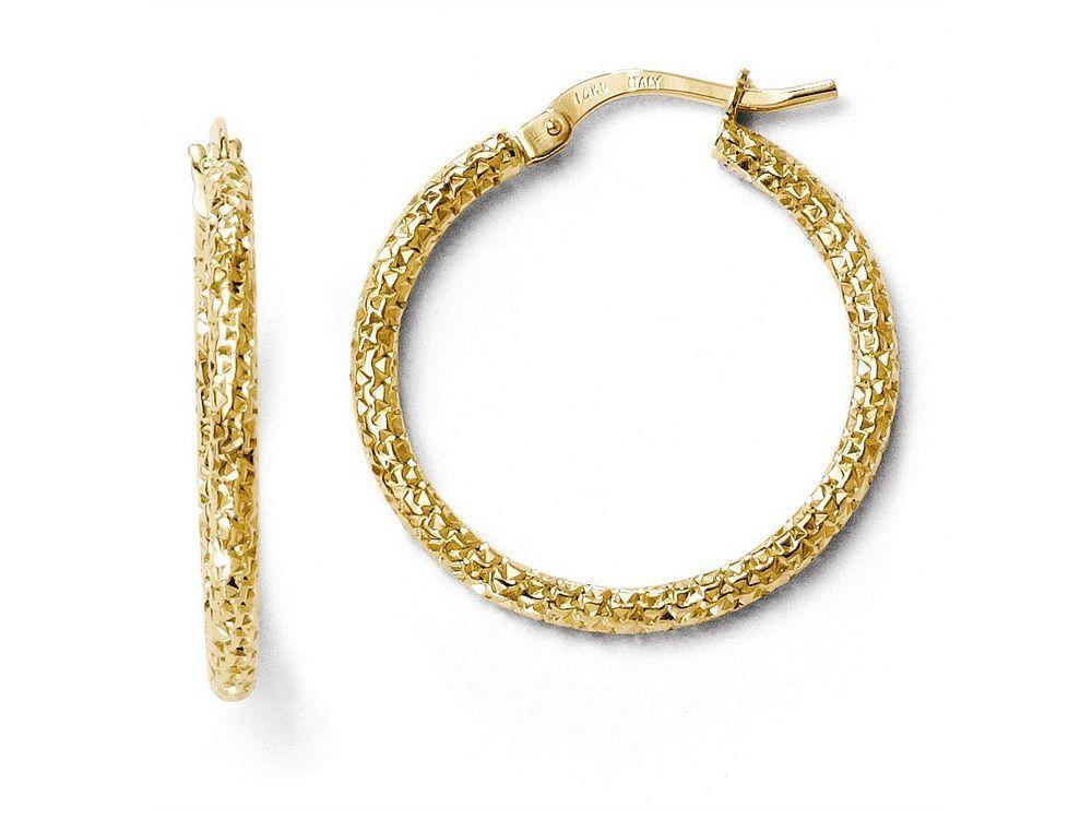 Finejewelers 14k Polished And Textured Hoop Earrings