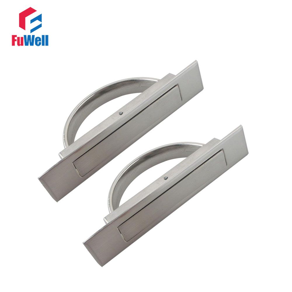 2pcs Tatami Door Knob Hidden Handles Silver Concealed Handle For Cabinet  Wardrobe Zinc Alloy 50mm/72mm/85mm Groove Length
