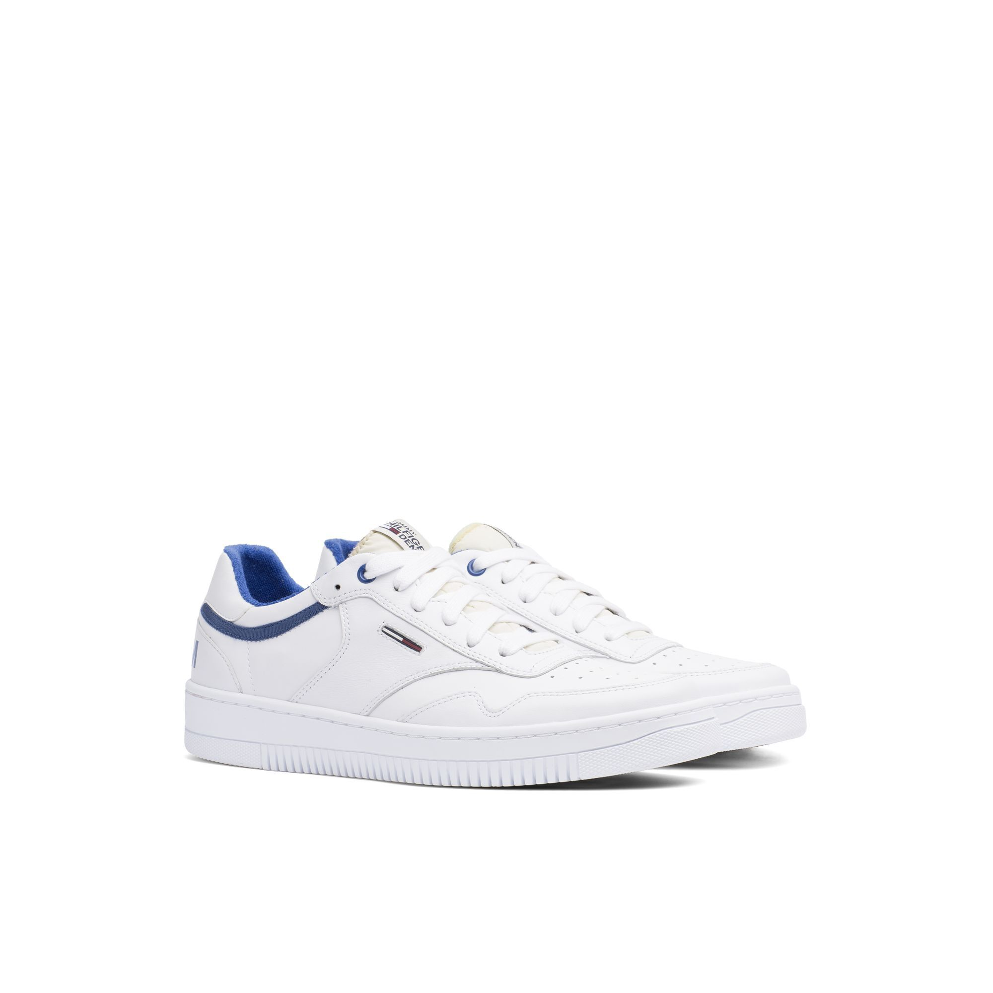 57b2a555d7f7 TOMMY HILFIGER LEATHER SNEAKER - WHITE-MONACO BLUE.  tommyhilfiger  shoes