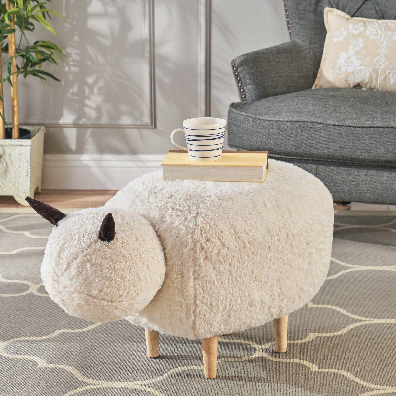 Jars White Velvet Sheep Ottoman Walmart Canada in 2020