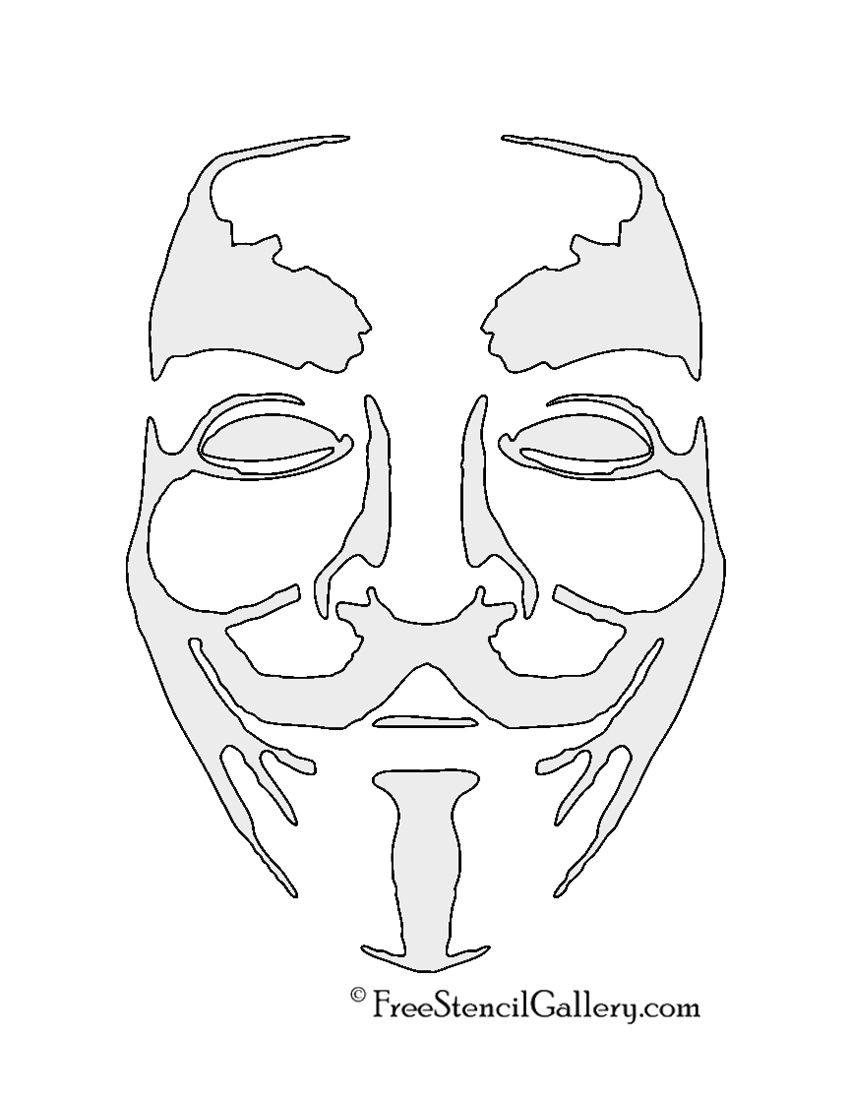anonymous guy fawkes mask stencil - Printable Drawing Stencils
