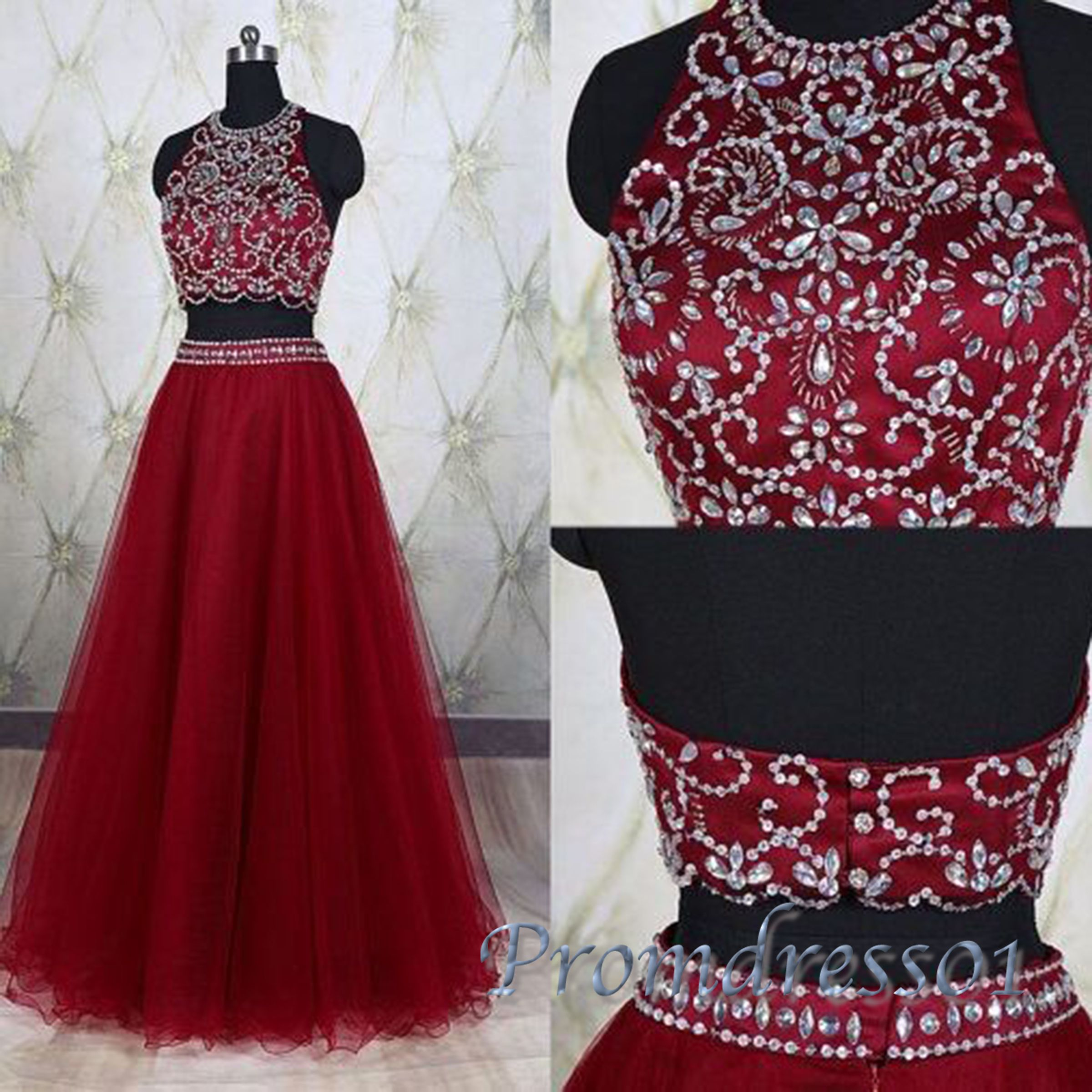 Cute halter red tulle two pieces prom dress with beautiful top
