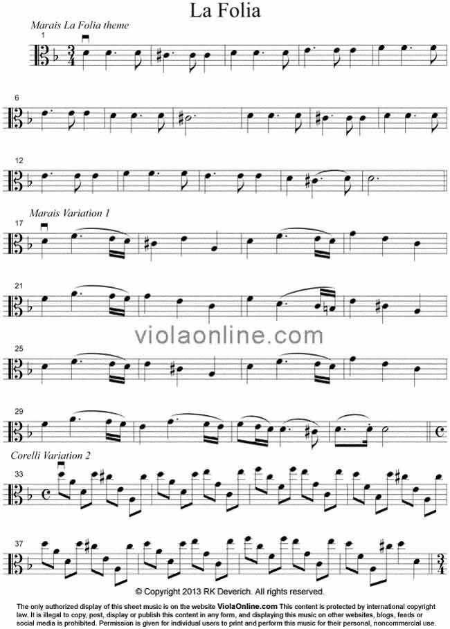 Viola Online Free Viola Sheet Music La Folia Medley By Marais Corelli Vivaldi In 2021 Viola Sheet Music Viola Music La Folia