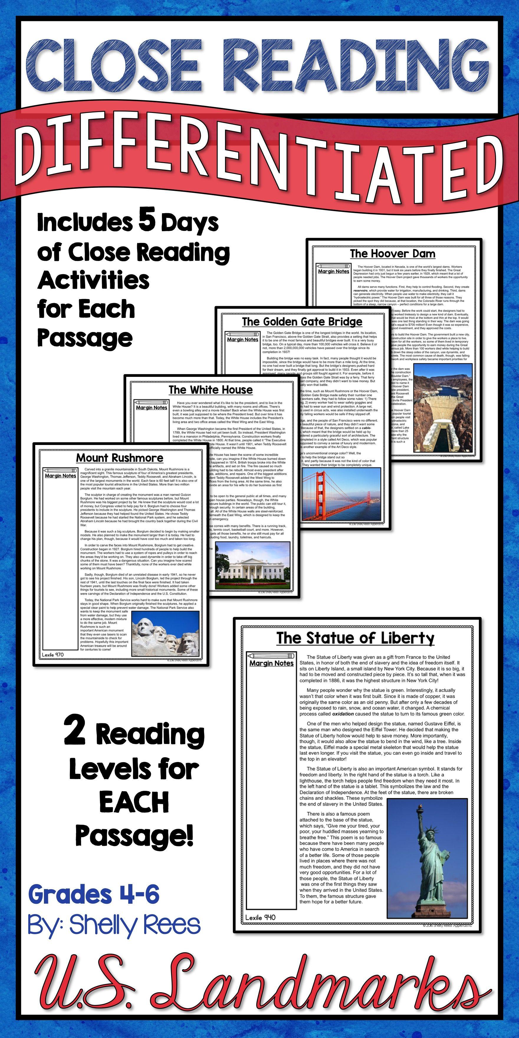 Us Landmarks Reading Comprehension Passages And Worksheets