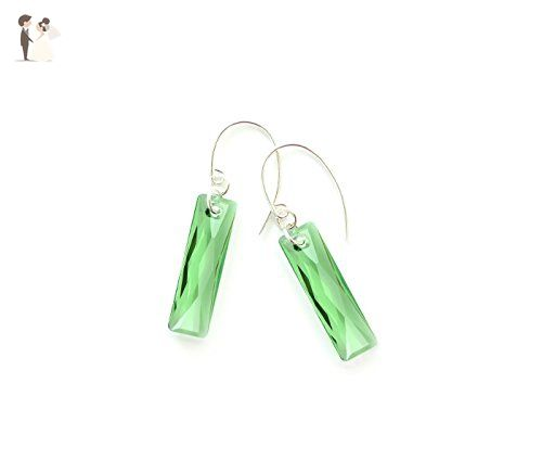Modern peridot green earrings - with faceted Swarovski baguette crystals and solid sterling silver 925 ear wires - a lovely gift for her - August birthstone earrings - Bridesmaid gifts (*Amazon Partner-Link)