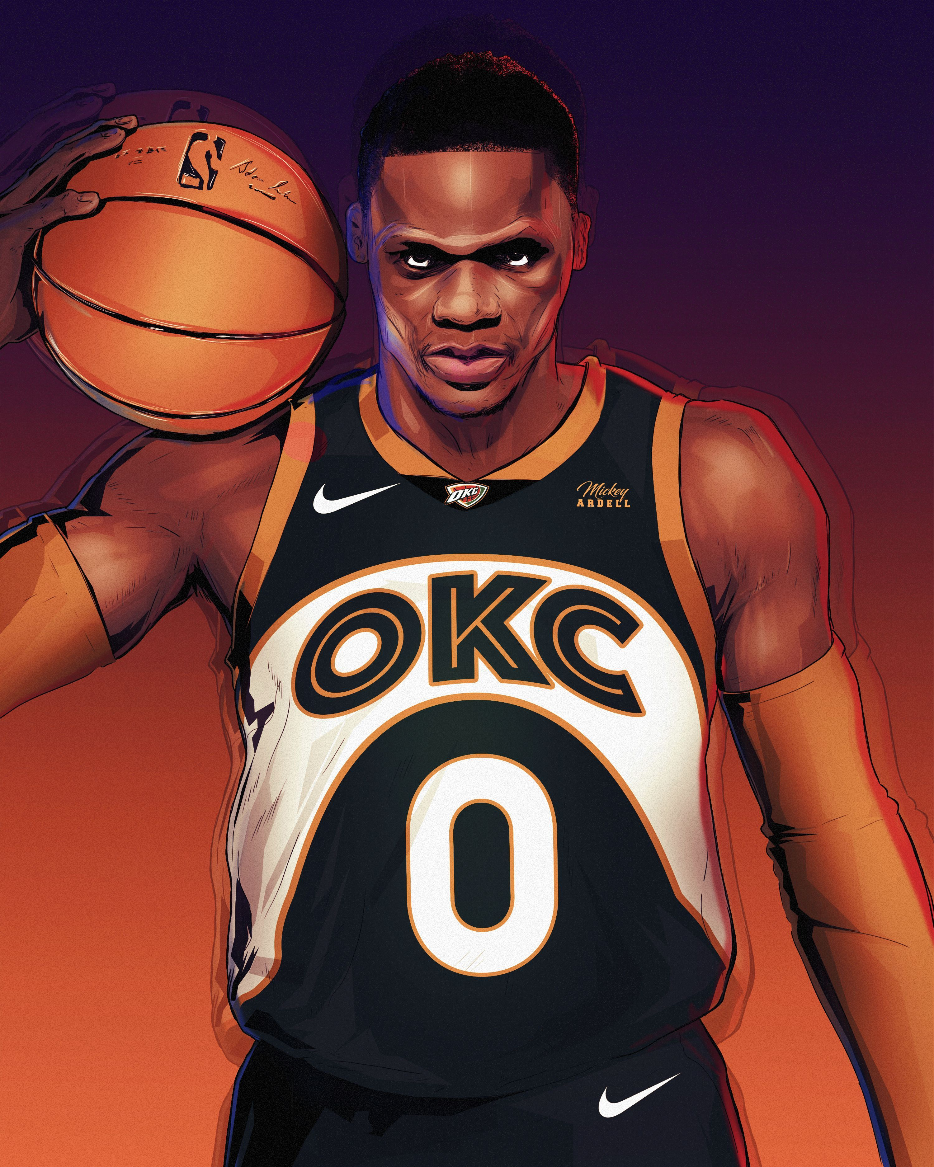 Sonics OKC Jersey Concept Russell Westbrook NBA Art #wmcskills #basketball #NBA basketball nba youngboy