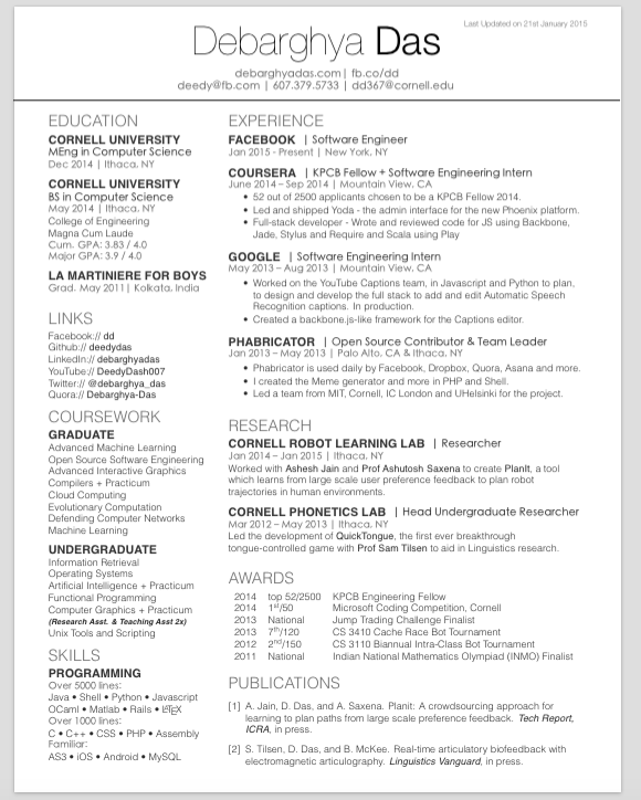 3 Column One page resume template, Resume templates
