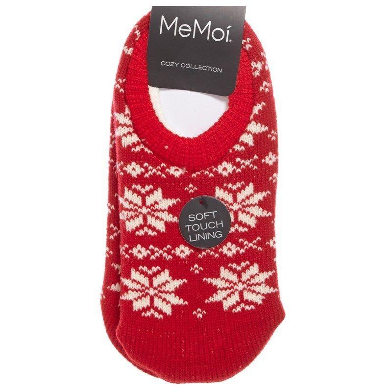Memoi cozy collection snowfall womens socks tango red