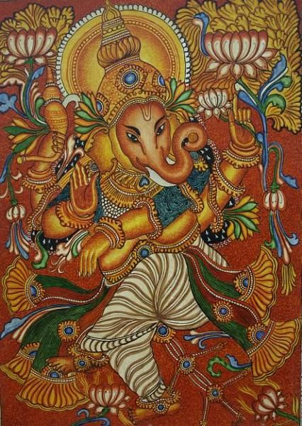 150198d1329273382t designs for kerala mural painting for Mural art of ganesha