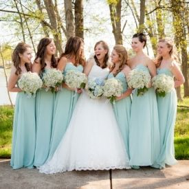 A romantic teal, sea foam green & white springtime wedding with baby's breath bouquets  DIY succulent escort card/favors!