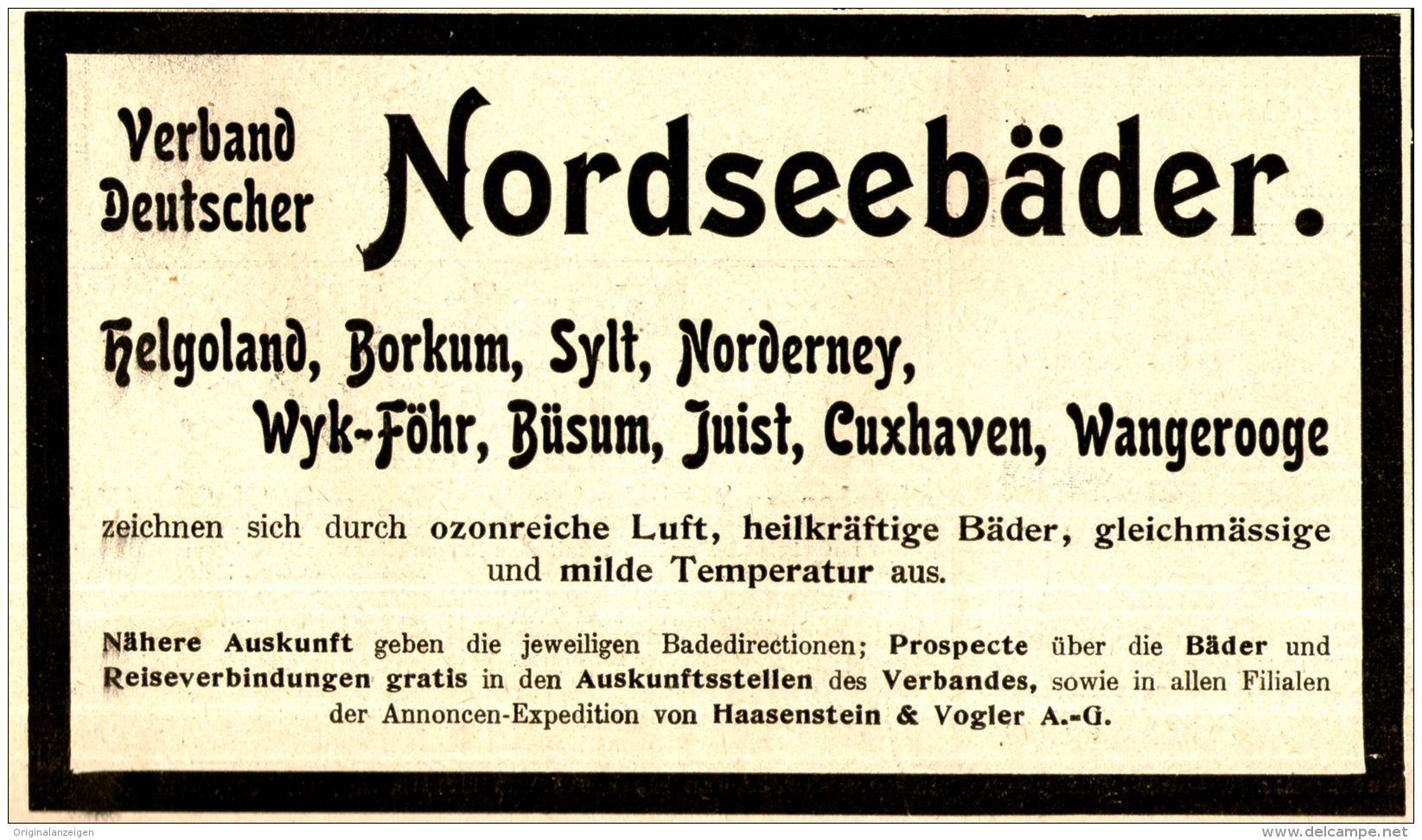 Original Werbung Anzeige 1898 Verband Deutscher Nordseebader