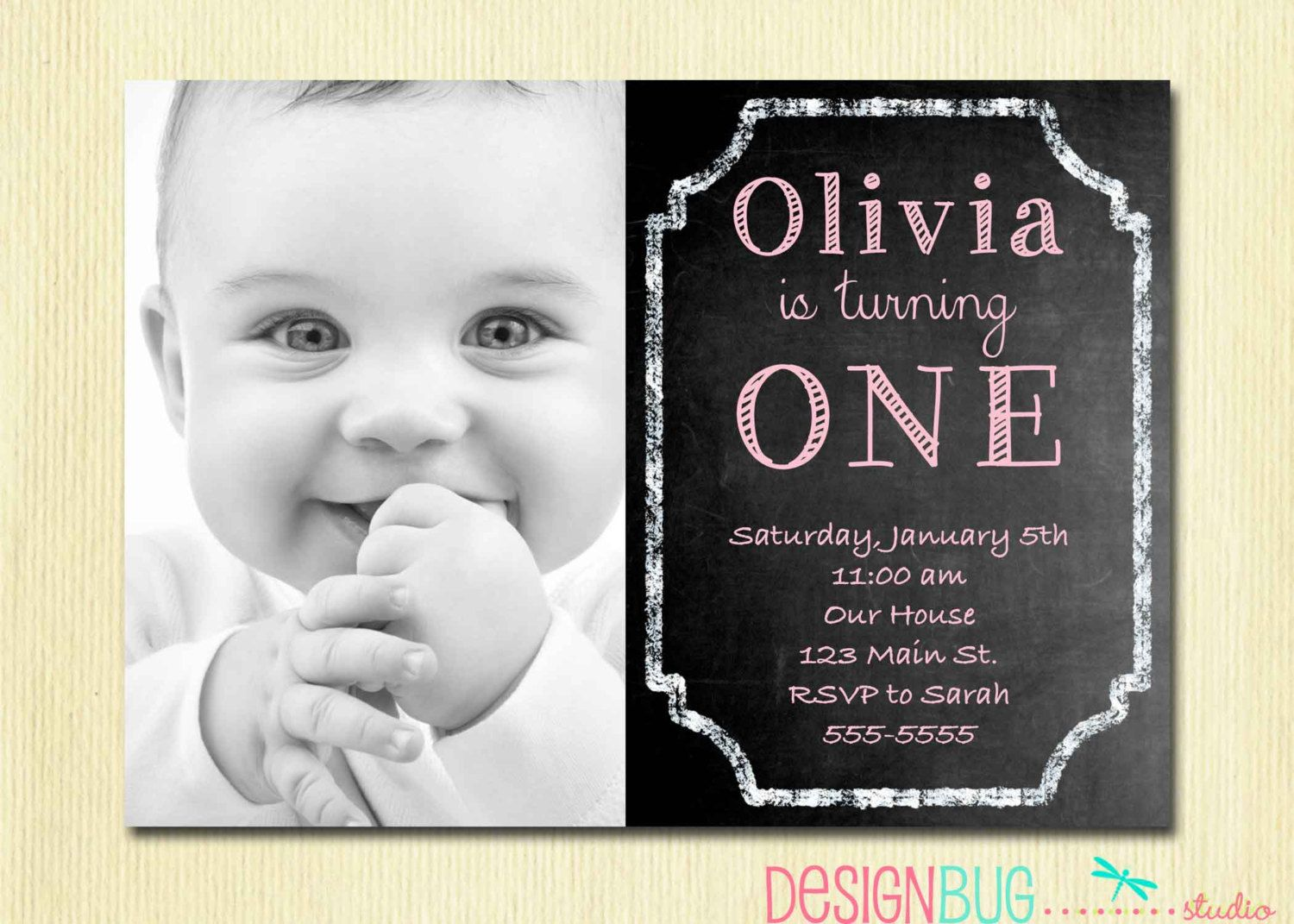 1st Birthday Girl Invitation Custom Chalkboard by DesignBugStudio – One Year Old Birthday Invitation