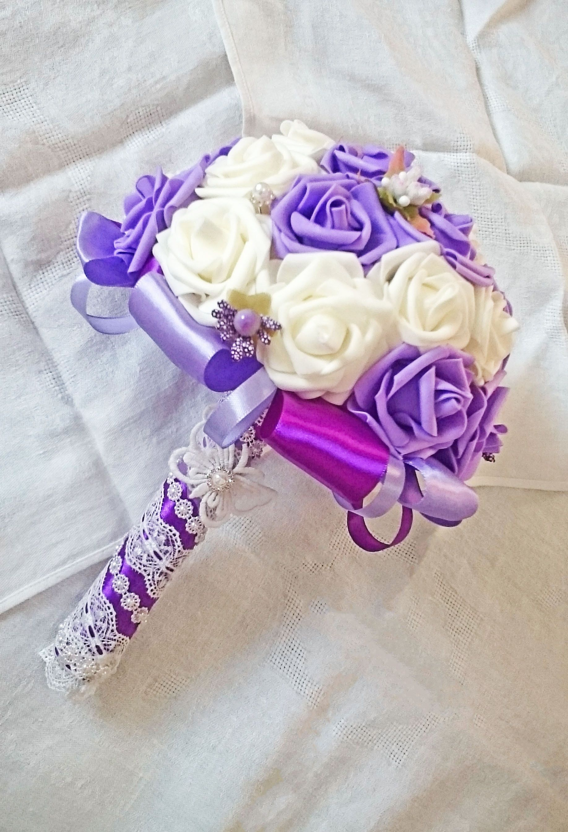 Purple bouquet bridal rose bouquet real touch flowers ultraviolet excited to share the latest creation purple bouquet bridal rose bouquet real touch flowers izmirmasajfo