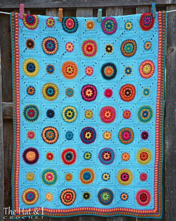 CROCHET PATTERN - Hippie Gypsy Blanket - a colorful crochet blanket ...
