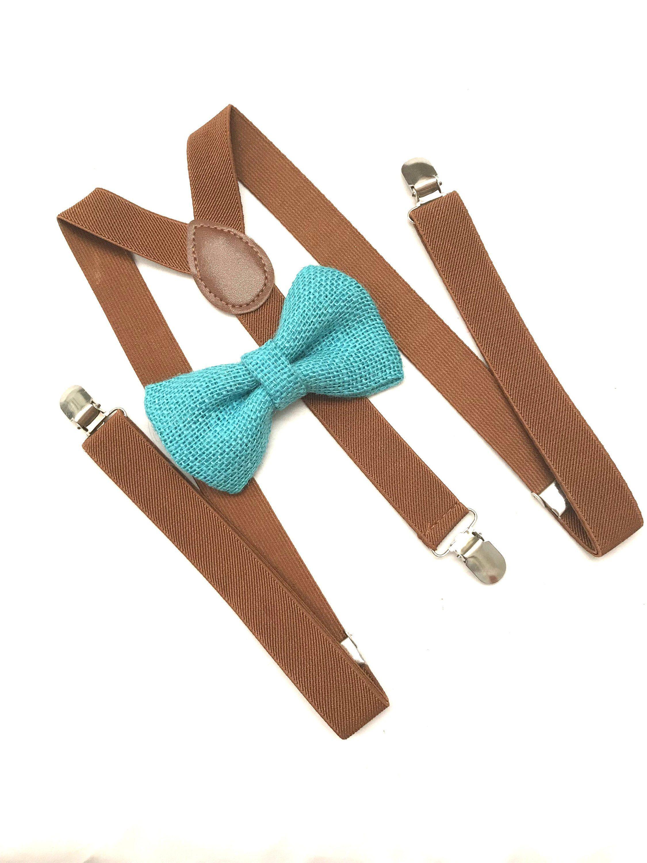 Adjustable Burlap Suspender and Bow Tie Set for Adults Men Women Teenagers US