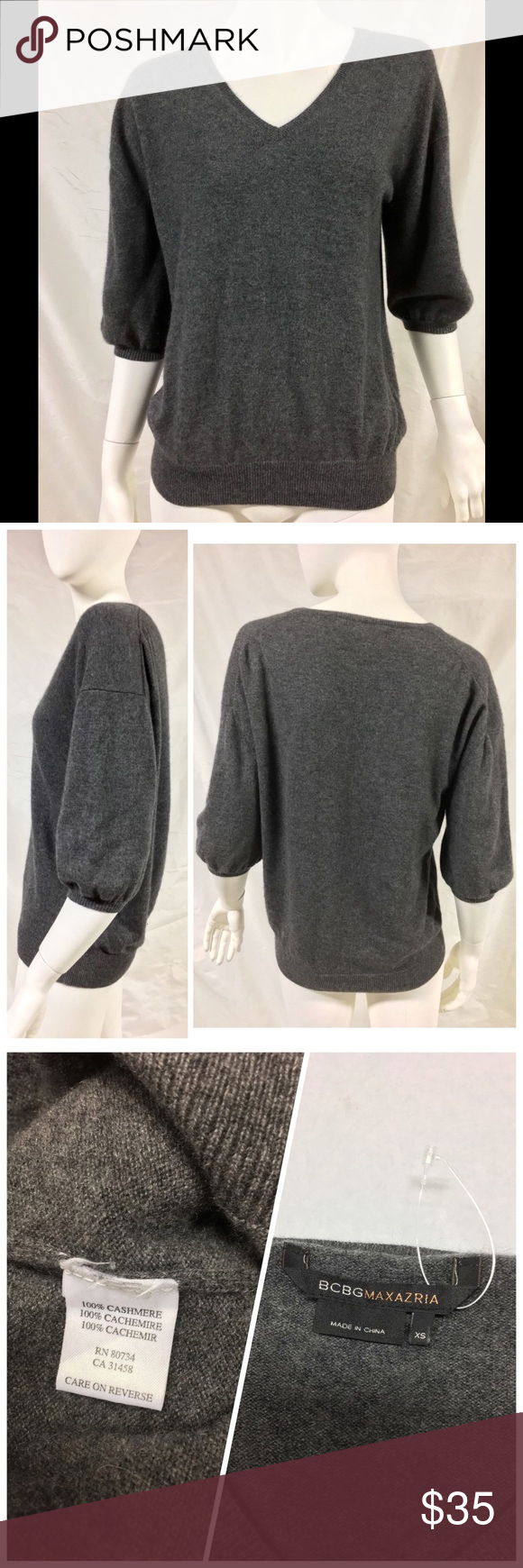 BCBG MAXAZRIA Grey 100% Cashmere Sweater V Neck