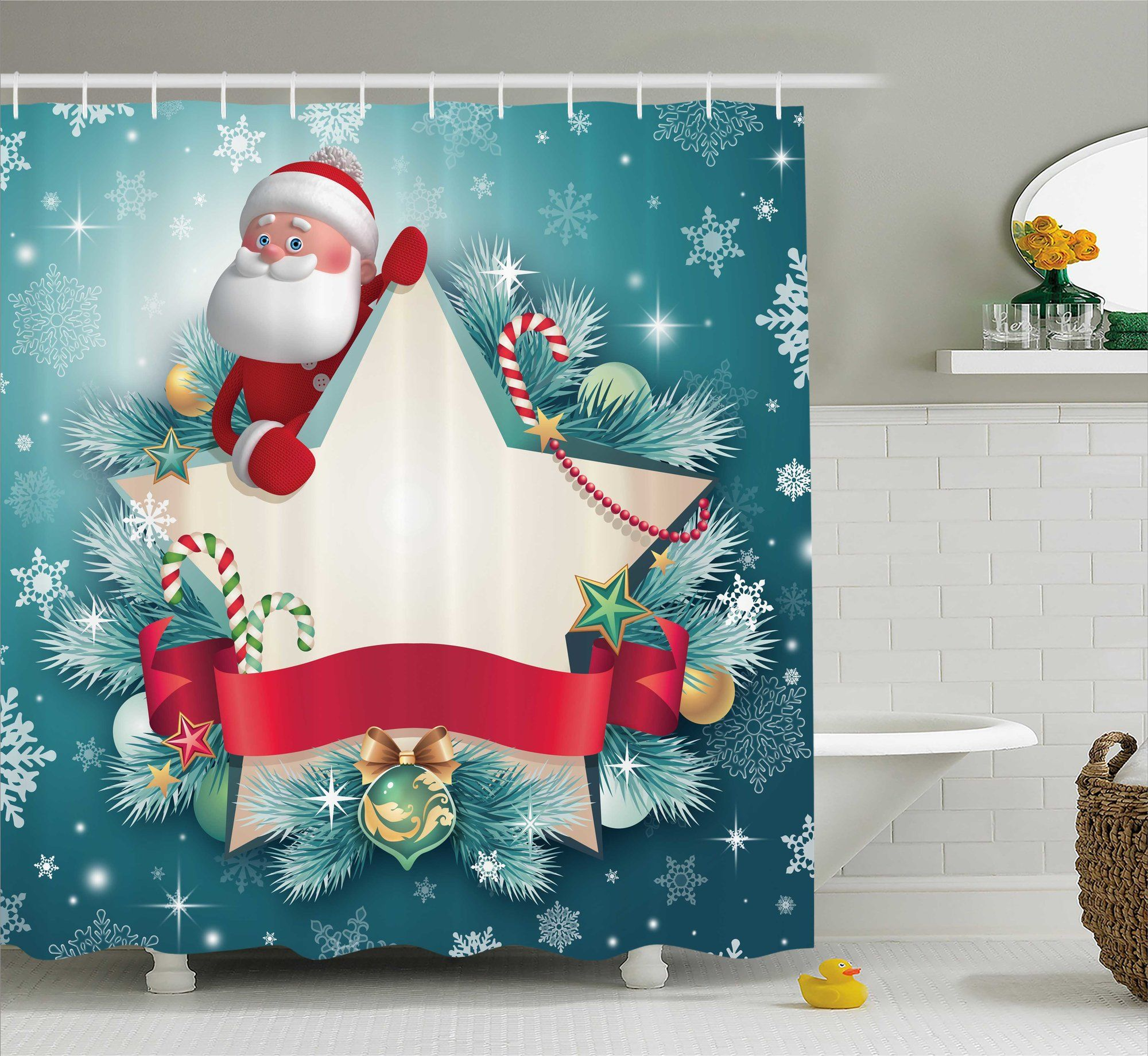 Christmas santa star snowflake shower curtain products