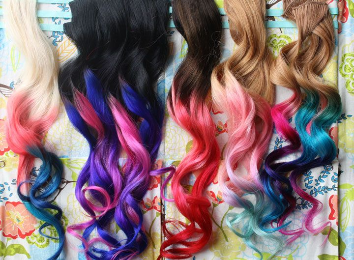 Custom Ombre Dip Dyed Hair Clip In Hair Extensions Tie Dye Tips