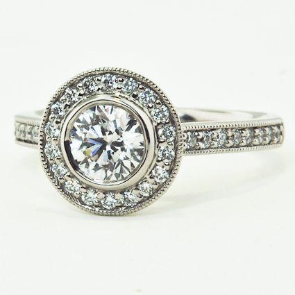 Round Bezel Halo Diamond Ring with Side Stones (1/3 ct.tw.), 0.71 ct. round diamond   brilliantearth.com