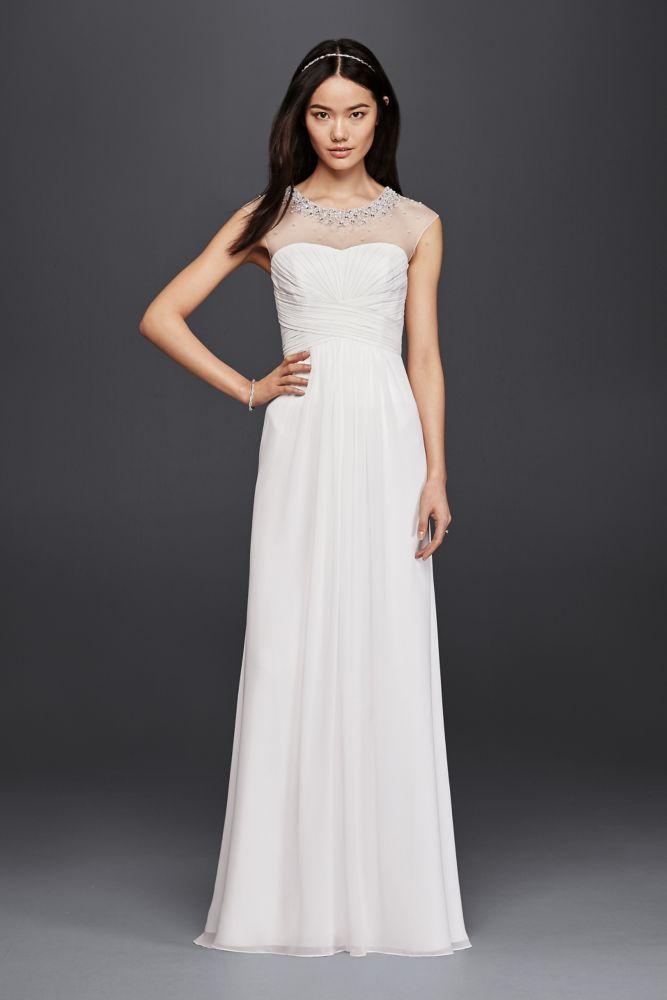 85a4214f Chiffon Sheath Wedding Dress with Beaded Illusion Neckline - NBWhite ...